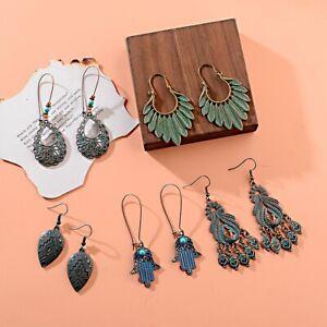 5 Pairs Bohemian Vintage Drop Earrings Women Girls Boho Geom