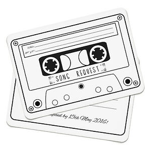 Image Is Loading Personalised Cassette Song Request RSVP Cards Invitations Party