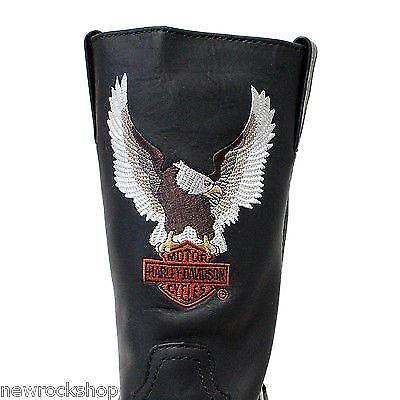 uomo Riding Harley Eagle Motor Bike nera da in Davidson Darren Stivali pelle Logo x7SRIqO7w