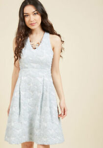 New-Modcloth-2X-Posh-Presence-A-Line-Cocktail-Dress-in-Ice-Blue-Textured-Flowers