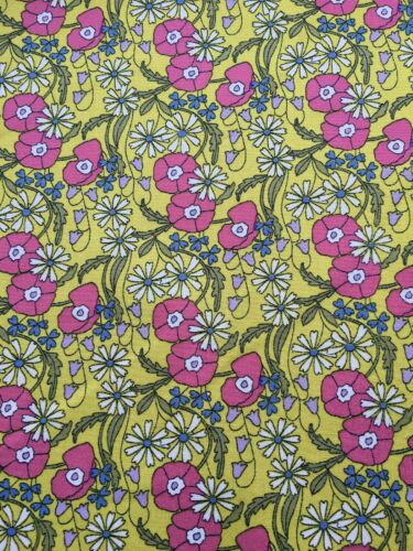 Ochre Wildflower floral fabric cotton poplin by the metre yellow ditsy flower