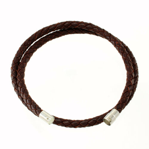 "5mm Brown Briaded Bolo Leather Cord Necklace Silver Toned Magnetic Clasp 14/""-36/"""