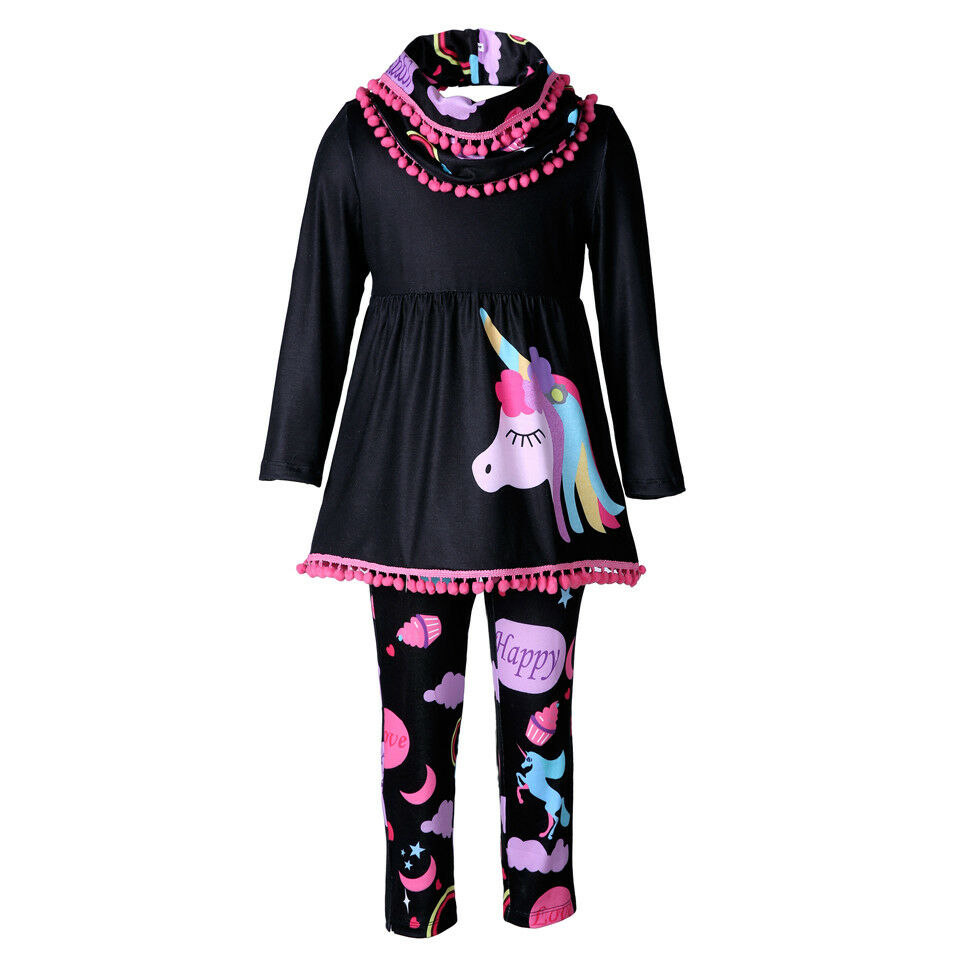 9c942590ab29 Unicorn Kids Baby Girls Outfits Clothes T-shirt Tops Dress +Long Pants 2PCS  Set