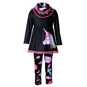 4e1a8f2cc1fd7 Details about Unicorn Kids Baby Girls Outfits Clothes T-shirt Tops Dress  +Long Pants 2PCS Set