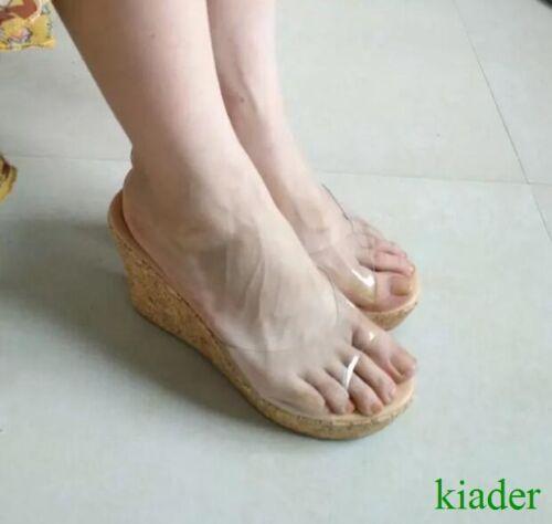 Womens Chic Transparent Wedge High Heels Sandals Platform Slippers Shoes Beach