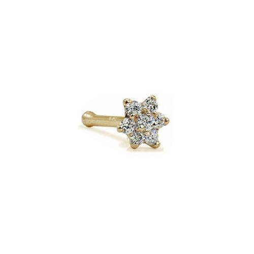 14K Gold Nose Bone Stud Ring Lrg Flower 22G 22 Gauge