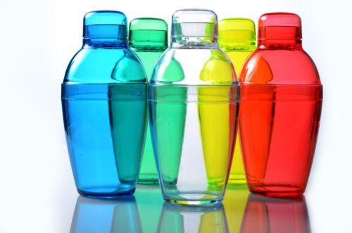 Set of 5 Plastic 14 oz Cocktail Shaker 3-Piece Set ASSORTED Colors