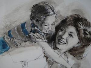 Paul Melia Charcoal pencil w/ watercolor & gouache