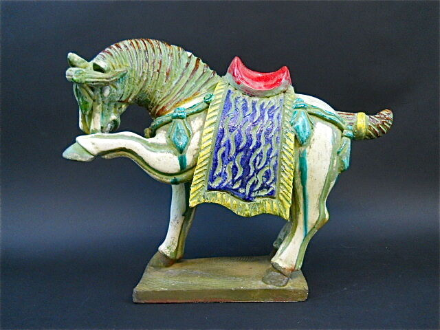 Chinese Asian Ceramic Polychrome Decorated Tomb Horse Home Decorative Vintage