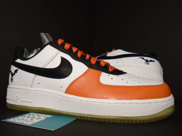 2006 Nike Air Force 1 HALLOWEEN WHITE BLACK DEEP orange Co.JP 307109-103 12 10.5