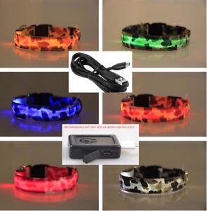 RECHARGEABLE-LED-CAMO-COLLAR-Dog-Pet-Safety-Belt-Harness-Neck-Camouflage-Lighted