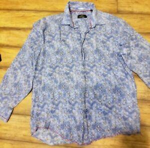 Butgachi-Uomo-Men-Shirt-size-L-blue-with-print-preowned
