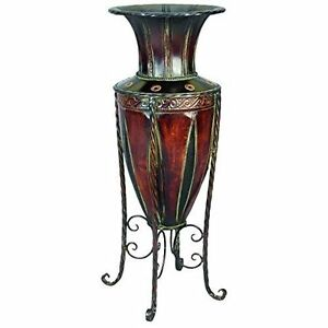 Tuscan metal floor vase stand display planter flowers for Floor vase with flowers