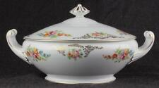 Aichi China Dresden Flowers 1940s Covered Vegetable Dish Excellent Occup Japan