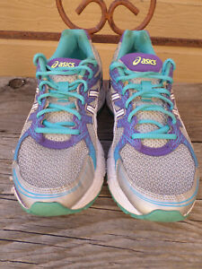 "Athletic Shoes Women's 9.5 Asics ""gel Excite 2"" Silver And Blue Running Shoes Women's Shoes"
