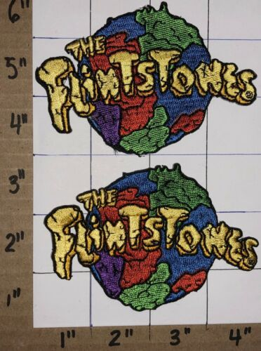 2 VINTAGE THE FLINTSTONES STONE AGE FAMILY ANIMATED BARNEY FRED CREST PATCH LOT