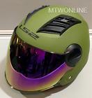LS2 Motorcycle Motorbike Open Face Helmet with Tinted Visor Options Matt Green