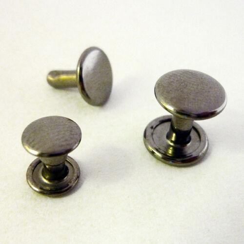 100 Hohlnieten Doppelkopfnieten rostfrei 7mm 9mm silber schwarz antik gold kupfe