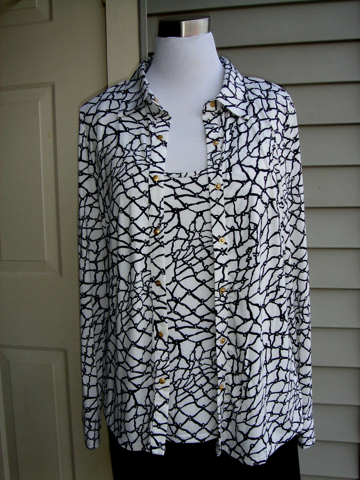 NWT  BCBGMAXAZRIA MULTI-Farbe POLYESTER BLOUSE WITH BUILD IN TOP Größe XL