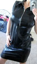 New***Sexy Black Stripper Wet Look Faux Leather Front Zip Dress***Size Medium***