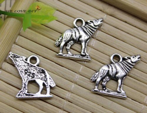 20//50pcs retro Jewelry Making Plateau Wolf alloy charm pendant DIY 15x14mm