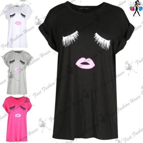 Damen Lippen Augen T-shirt Stretch Baggy Übergröße Shorts Aufgerollter Ärmel Top