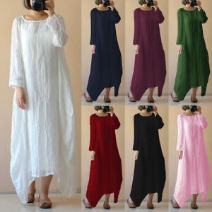 Womens-Summer-Boho-Cotton-Linen-Casual-Kaftan-Basic-Tunic-Maxi-Long-Dress-S-5XL