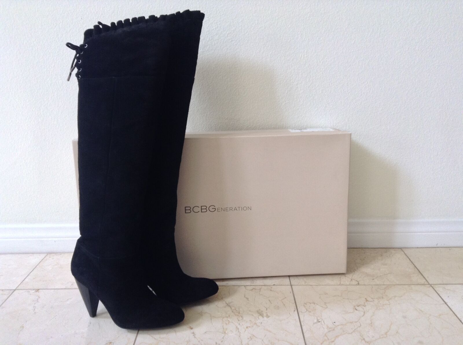 Women's BCBGeneration Sz 7 Black Suede Lace Knee-High/Over-the-Knee Heel Boots