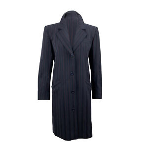 Authentic Saint Laurent Vintage Navy Blue Pinstriped Coat Size 36 FR