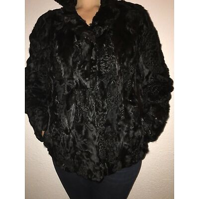 Pelzjacke Damen Gr. 38/40 Top Zustand Vintage Winterjacke Leder schwarz