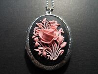 VICTORIAN OVAL STERLING SILVER PLATED BLACK WITH PINK ROSE CAMEO  LOCKET.