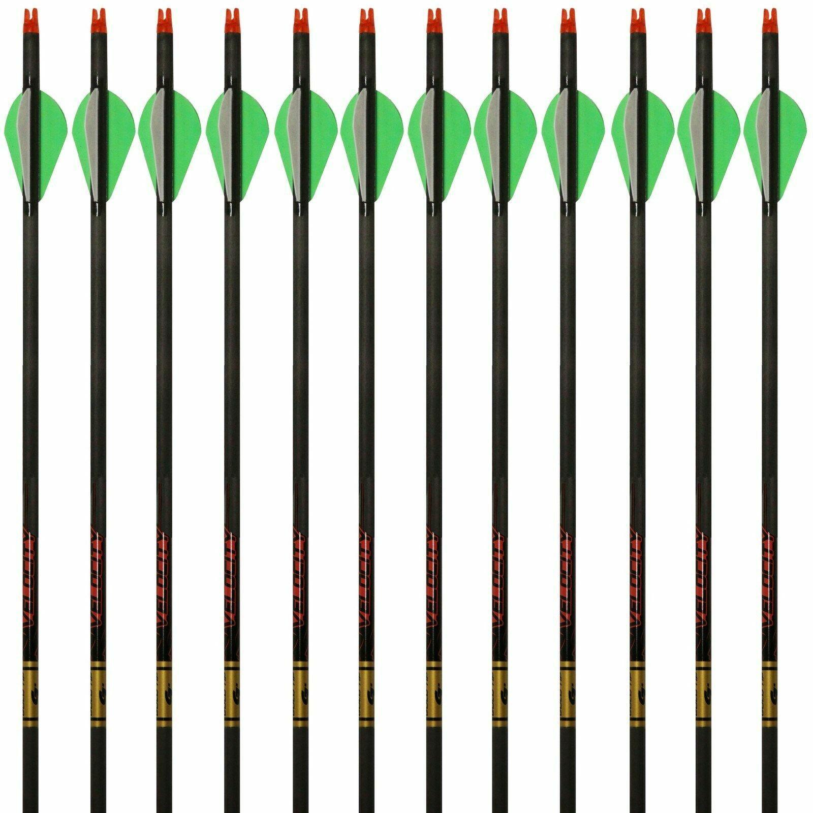 12 nuevo flechas  de punta de oro Cazador de velocidad 300 340 400 500 1 docena 2  Raptor Paletas  mejor marca