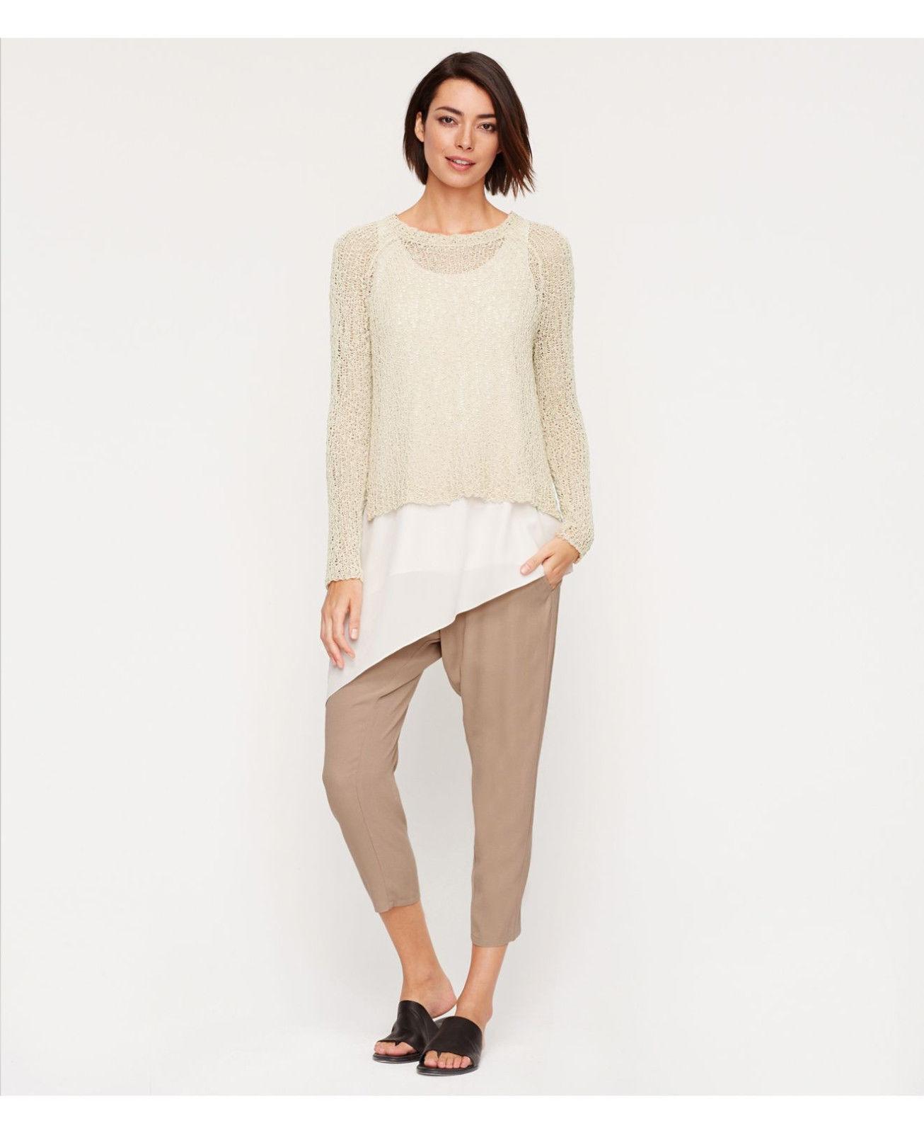 Eileen Fisher Mocha Slouchy Drawstring Harem Crop Pants 3X  278