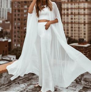 Long-Chiffon-Cape-White-Ivory-Wedding-Jacket-Cloak-Bridal-Dress-Topper-Wraps