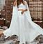 Long-Chiffon-Cape-White-Ivory-Wedding-Jacket-Cloak-Bridal-Dress-Topper-Wraps thumbnail 1