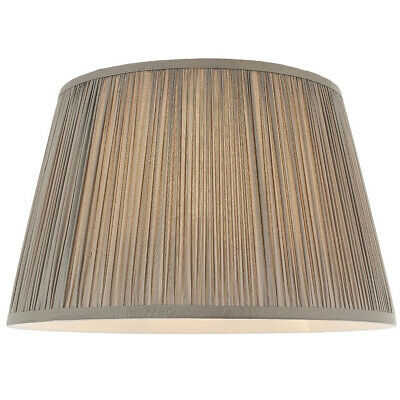 14 Elegant Round Tapered Drum Lamp Shade Charcoal Gathered Pleated Silk Cover Ebay