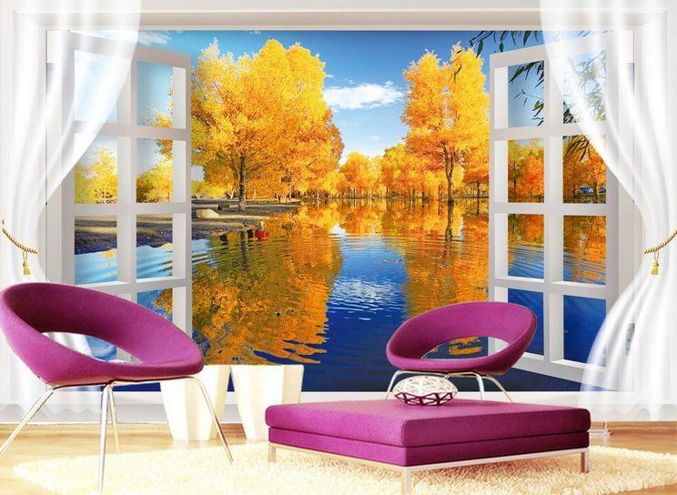 3D albero yellow Parete Murale Foto Carta da parati immagine sfondo muro stampa