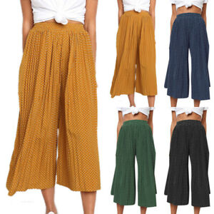 Details about WOMEN WIDE LEG PLAZZO 34 SHORT PANTS CASUAL LADIES LOOSE CAPRI TROUSERS