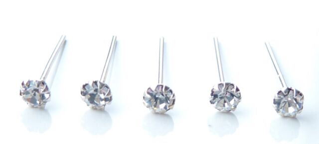 5x Sterling Silver 925 Straight Clear Round Claw Set Crystal Nose Pin Studs