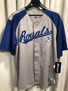 size 40 894fb 1ba57 Details about NWT Authentic Dynasty Kansas City Royals STITCH Button  Baseball Jersey XL NEW!!
