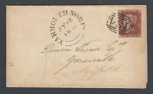 QVR-1d-039-CE-039-Imperf-stamp-on-Great-Britain-GB-Wrapper-Yarmouth-North-Cachet-1844