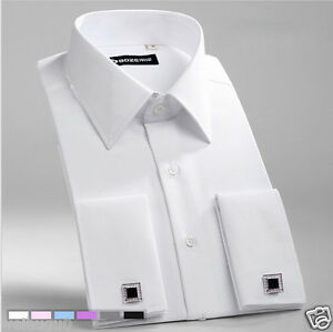 New-white-Double-French-Cuff-Mens-Formal-Business-Dress-Shirt-Designer-Italian