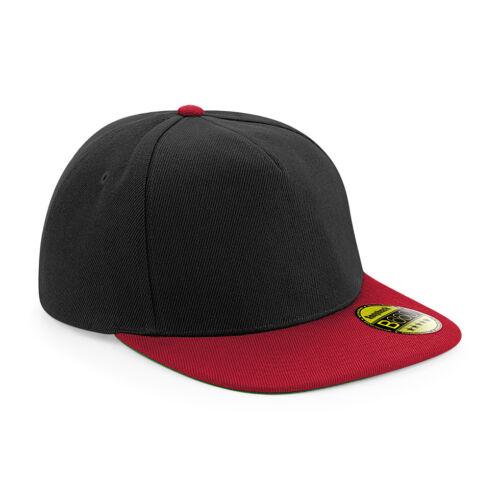 B660 Beechfield Original Flat Peak Snapback Hat Baseball Cap Retro Style