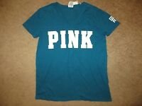VICTORIA'S SECRET PINK DARK TEAL BLUE WHITE SHORT SLEEVE V NECK TEE NWT XS S