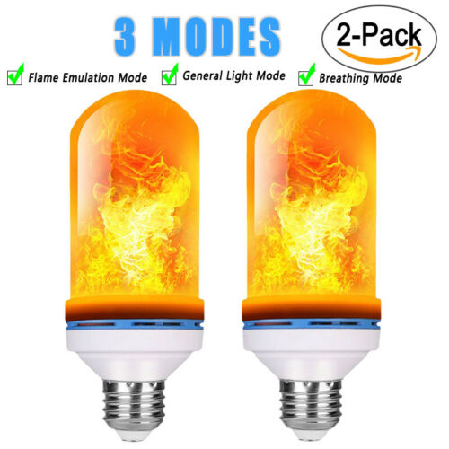 2Pack 3W E26 E27 B22 LED Bulb Flame Effect 4 Mode Gravity Simulated Burning Fire