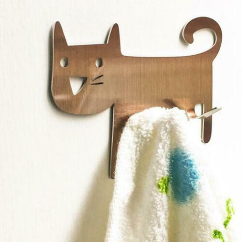 Cat Self Adhesive Hook Strong Stick On Wall Hanging Bathroom Kitchen Hanger Q