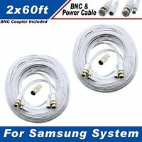 High Quality White 120ft Bnc Cables 8 Ch Samsung Systems Sds-5122 Sds-p5102