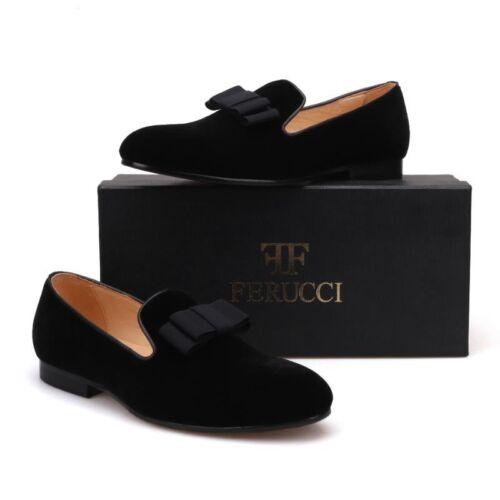 Men FERUCCI Black Velvet Slippers Loafers Flat With Black Bow