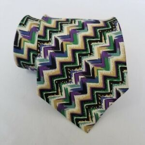 Missoni-Silk-Tie-Purple-Gold-Green-Black-Blue-White-Designer-Zig-zag-Preppy