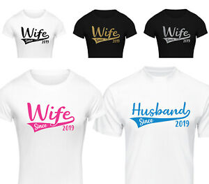 b746e96d5e PERSONALISED JUST MARRIED SINCE T-SHIRT WEDDING SET ANNIVERSARY GIFT ...